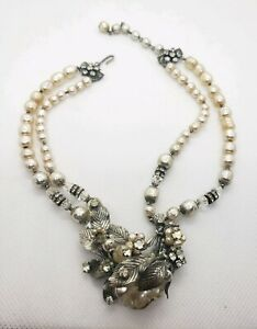 Vintage-Miriam-Haskell-Baroque-Pearl-Rhinestone-Flower-Choker-Necklace