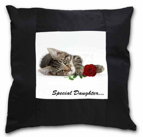 Kitten with Rose /'Special Daughter/' Black Border Satin Feel Cushion SD-204R-CSB