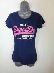 WOMENS-SUPERDRY-NAVY-BLUE-SPELLOUT-LOGO-SHORT-SLEEVE-CREW-NECK-T-SHIRT-XS-XSMALL