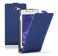 Ultra Slim BLUE Leather Flip Case Cover Pouch For Sony Xperia M2 Aqua experia
