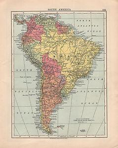 1925 MAP SOUTH AMERICA BRAZIL BOLIVIA PERU COLOMBIA ARGENTINA