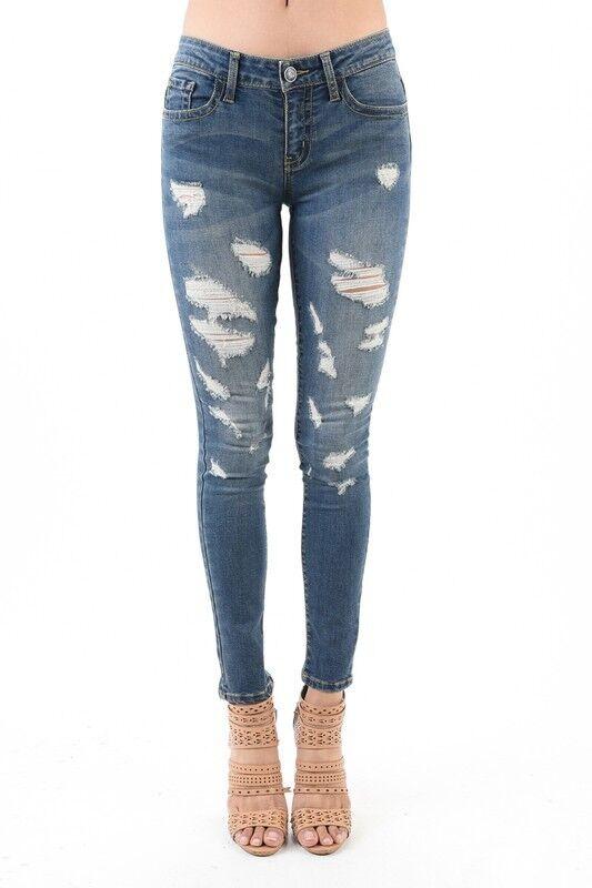 NWT Judy bluee Destroyed Distressed Skinny Jeans 1 3 5 7 9 11 13 1XL 2XL 3XL 8601