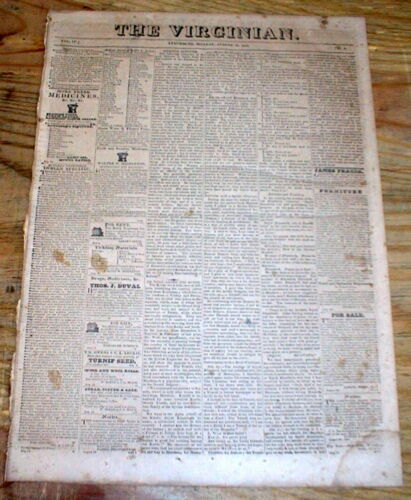 1826 Lynchburg VIRGINIA Local Newspaper to THOMAS JEFFERSON while he was alive