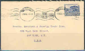SOUTH-AFRICA-PORT-ELIZABETH-7-2-1941-COVER-TO-NEW-YORK-AS-SHOWN