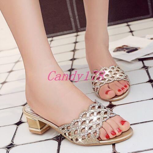 Été Femme strass cristal Casual Slipper Sandales Mules bloack Chaussures à talon