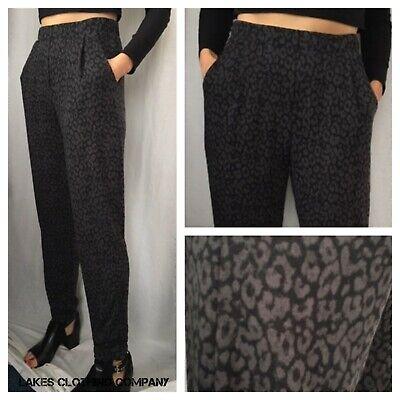 M/&S Ladies Tapered Leg Trouser Pants Animal Print Black Grey Soft Touch 8-18