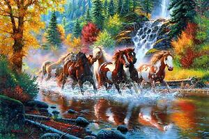 Troupeau de chevaux sauvages AMERICAN MUSTANG toile Poster Art Mural ...