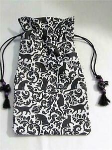 Black-Cat-Wicca-Pagan-Tarot-Card-Drawstring-Mojo-Bag-Pouch-FREE-SHIPPING