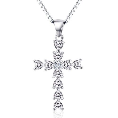 Cross Silver Sterling Pendant 925 Necklace Women Cz Charm 18 S Women/'s Chain