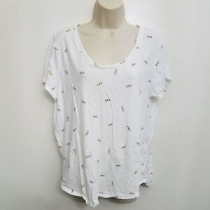 Ann Taylor Loft Womens Top Large White Glasses Printed Short Sleeve Scoop