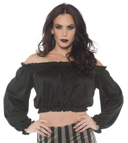 Pirate Womens Adult Black Gypsy Bar Wench Costume Crop Top