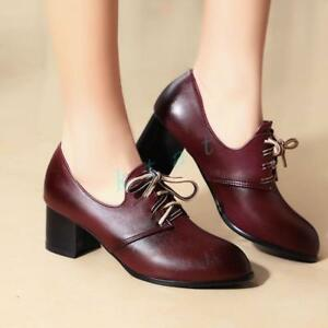 6b1bfbe4c0b Retro Womens Brogue Lace Up Mid Mid Heels Pointed Toe Dress Shoes ...