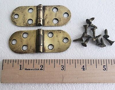 "2 Vintage SOLID BRASS Butterfly Hinges w// Screws 13//16/"" x 2 5//16/"" Door Chest"