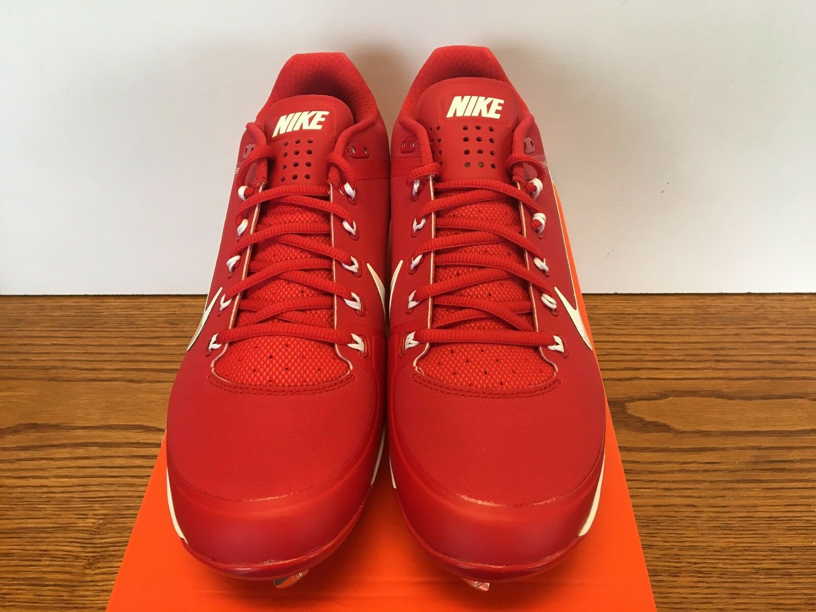 NIKE AIR CLIPPER '17 METAL BASEBALL CLEATS RED/WHITE MENS SIZE 12 NIB NEW!