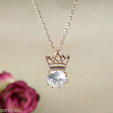 N5 18K Rose Gold Plated Crown Pendant Necklace Crystal - Gift Boxed