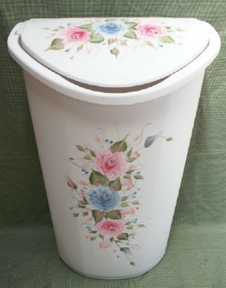 HAND PAINTED pinkS TRASH CAN LAUNDRY HAMPER PINK blueeeE