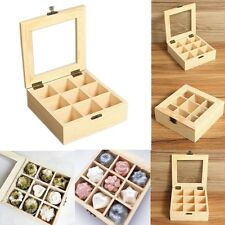 Wooden Glass Lid Bracelet Ring Jewellery Display Storage Box Tray Case 9 Grids