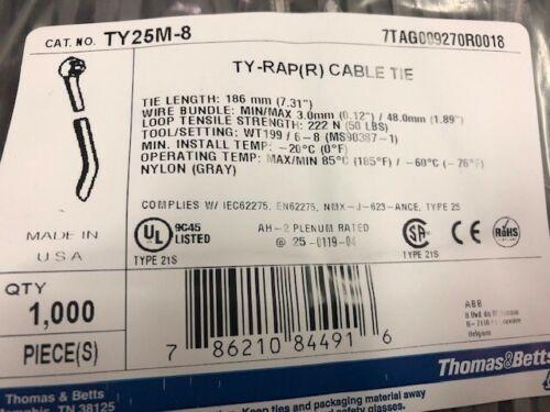 """ABB//Thomas /& Betts TY25M-8 7/"""" 50lb Gray 1000//bag MS3367-1-8"""