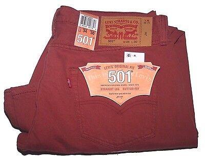 LEVI/'S MEN/'S 501 ORIGINAL FIT BUTTON FLY COLORED JEANS COTTON 00501-2223 MARSALA