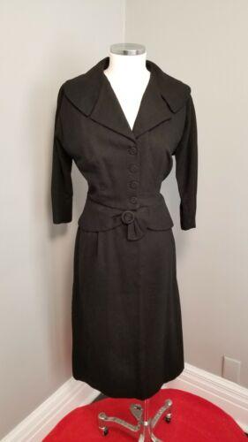 40s Black Wool Suit - L