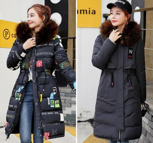 Womens Down Cotton Padded Parka Coat Large Fur Collar Jackets Thicken warm Coat