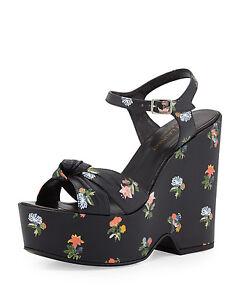 Saint-Laurent-Candy-Floral-85-Knotted-Wedge-Sandal-Heels-Size-37-EU