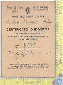 Ministero-della-Guerra-Certificato-d-039-Idoneita-patente-1942-storia-WW2-WWII
