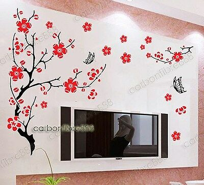 Blossom Flower Tree Butterfly Wall Stickers Art Decals Mural Wallpaper Decor