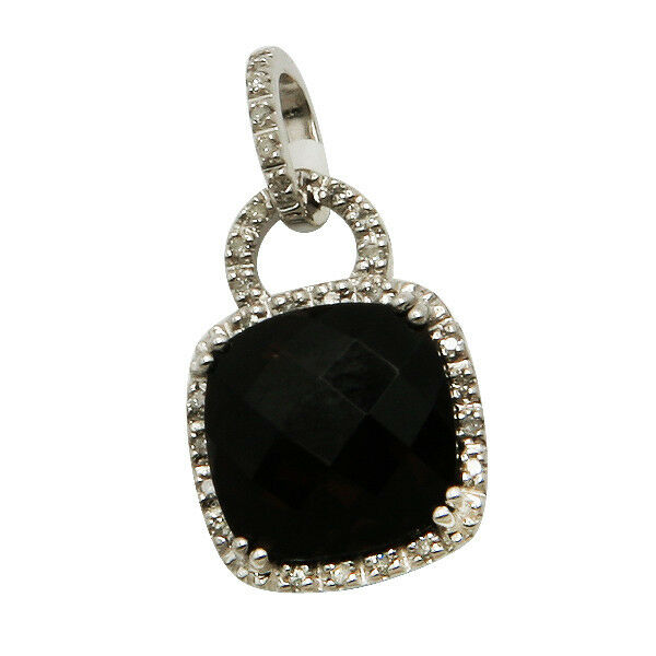 14K WHITE GOLD PAVE DIAMOND CUSHION CUT SMOKY QUARTZ