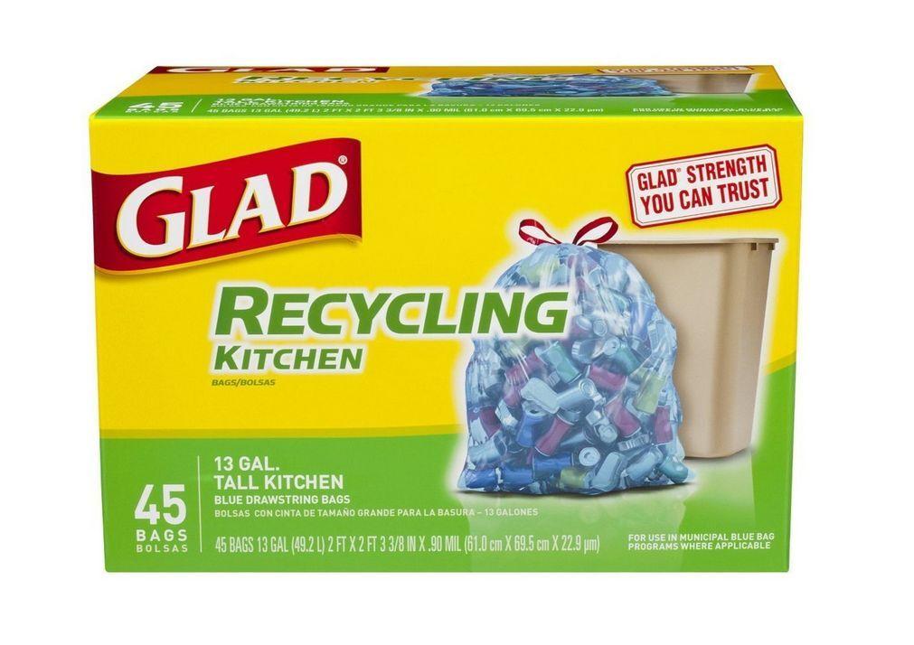 Glad Recycling Tall Kitchen Drawstring Trash Bags, 13 Gallon, blueeee 45 ea (9pk)