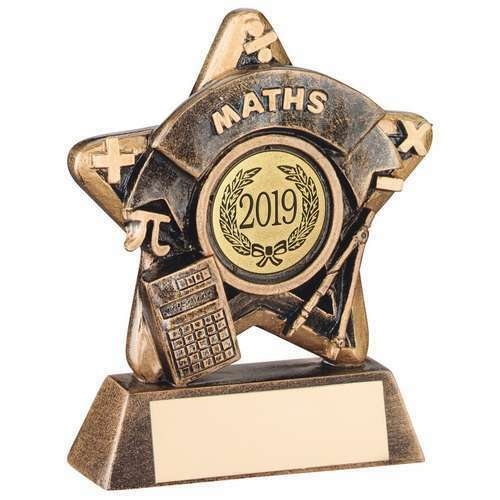 School Maths  Mini Star 9.5 cm trophy Award  Free Engraving up to 30 Letters