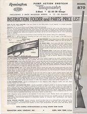 Old Remington Wingmaster Model 870 Shotgun Instruction Folder & Parts Price List