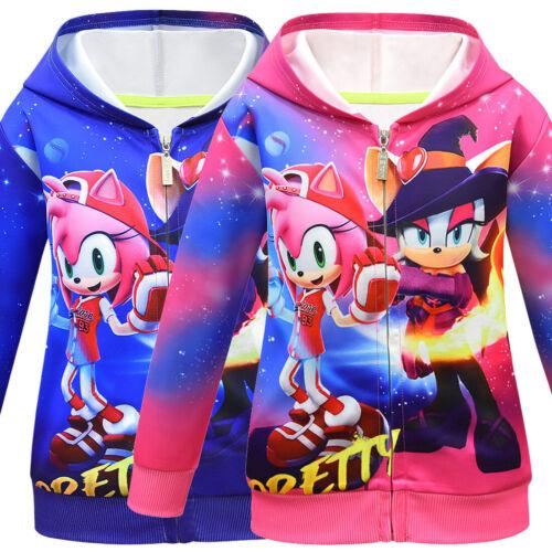 Sonic the Hedgehog Hoodies Kids Girls Boys Zipper Hooded Sweatshirt Jacket Coat