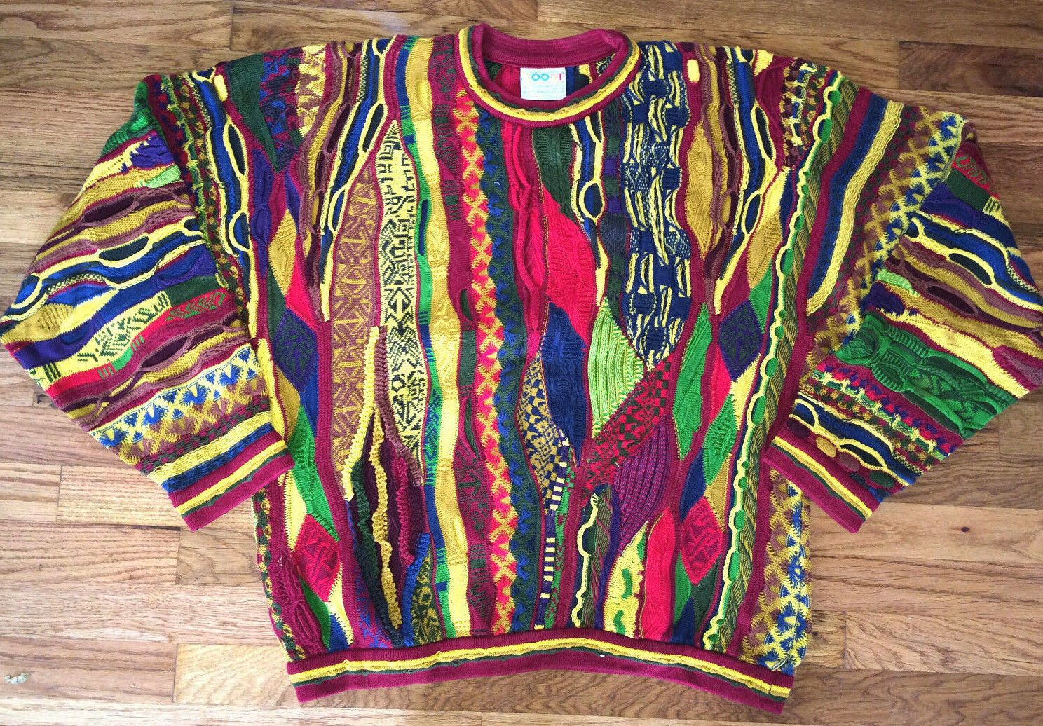 COOGI Vtg 90s COLORFUL ROT Gelb Grün lila Blau HIP HOP Sweater rainbow XL