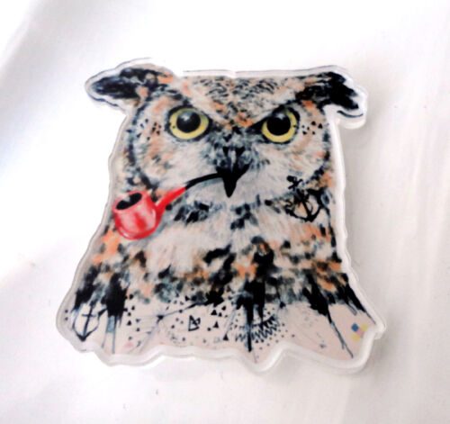 ZPs Owl with Pipe Quirky Kitsch Shabby Chic Retro Deco Pin Badge Brooch Acrylic