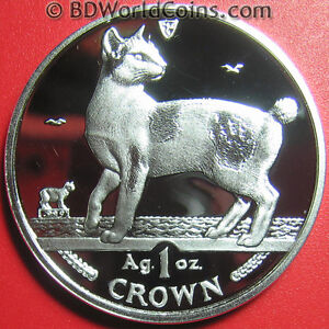 1994-ISLE-OF-MAN-1-ONE-CROWN-1oz-SILVER-PROOF-JAPANESE-BOBTAIL-CAT-IOM-COIN-39mm