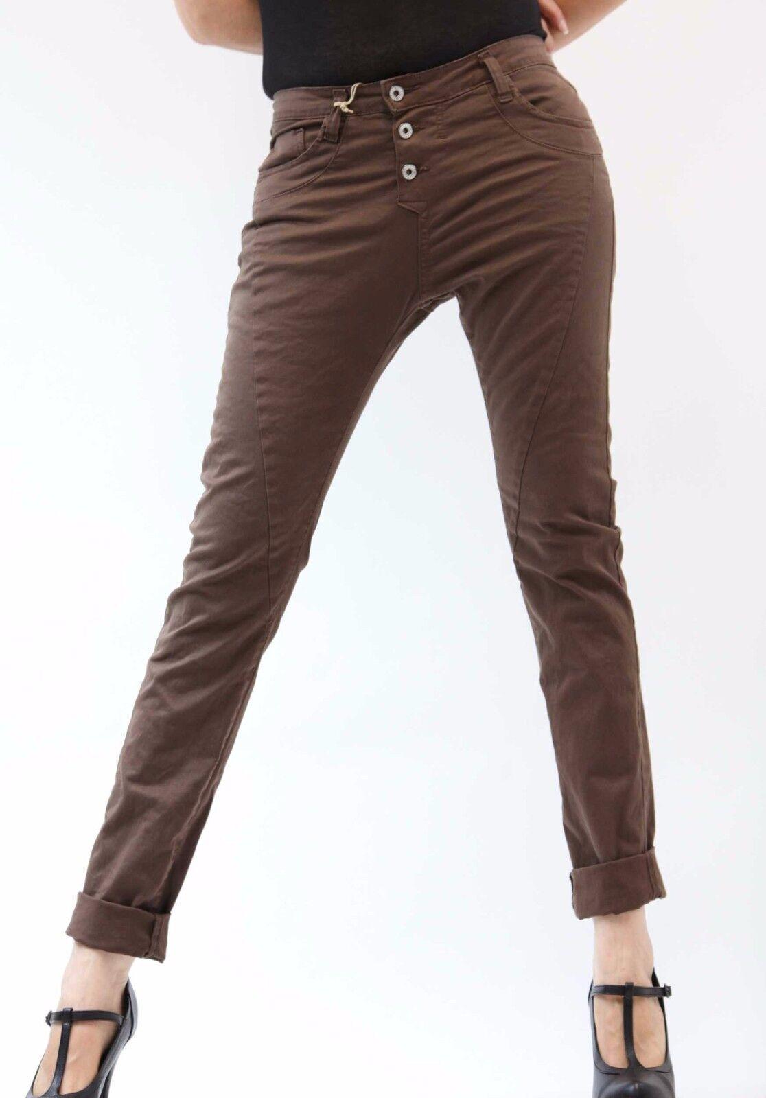 PLEASE Jeans P78 Schokoladen Boyfriend Frau 3 Knöpfe Woman Made in  Damen
