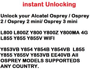 Unlock Code Alcatel OneTouch  L800 L800Z Y800 Y800Z Y800MA 4G L855 Y855 Y855V