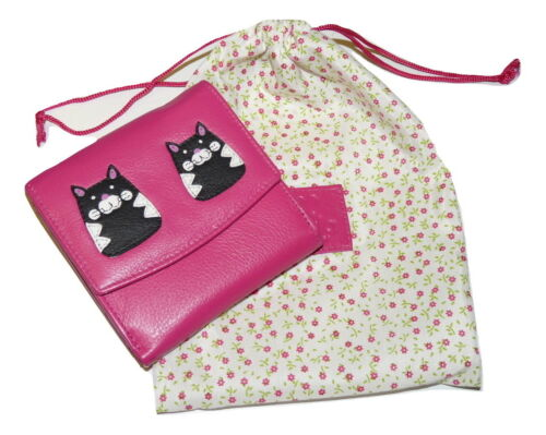 *SALE* MAX Cat compact small premium leather Purse by Mala Leather pink or black