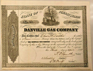 The-Danville-Gas-Company-gt-1858-Pennsylvania-stock-certificate-share