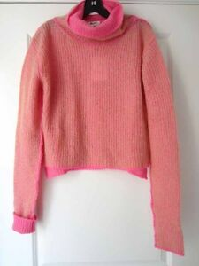 Acne-Studios-NEW-Beige-Candy-Pink-Double-Faced-Vasaya-Turtleneck-Sweater-XXS