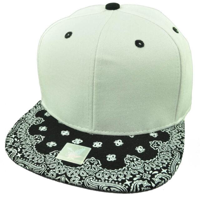 f60b66b06887d3 White Black Bandana Print Pattern Flat Bill Hat Cap Snapback Plain Blank  Solid