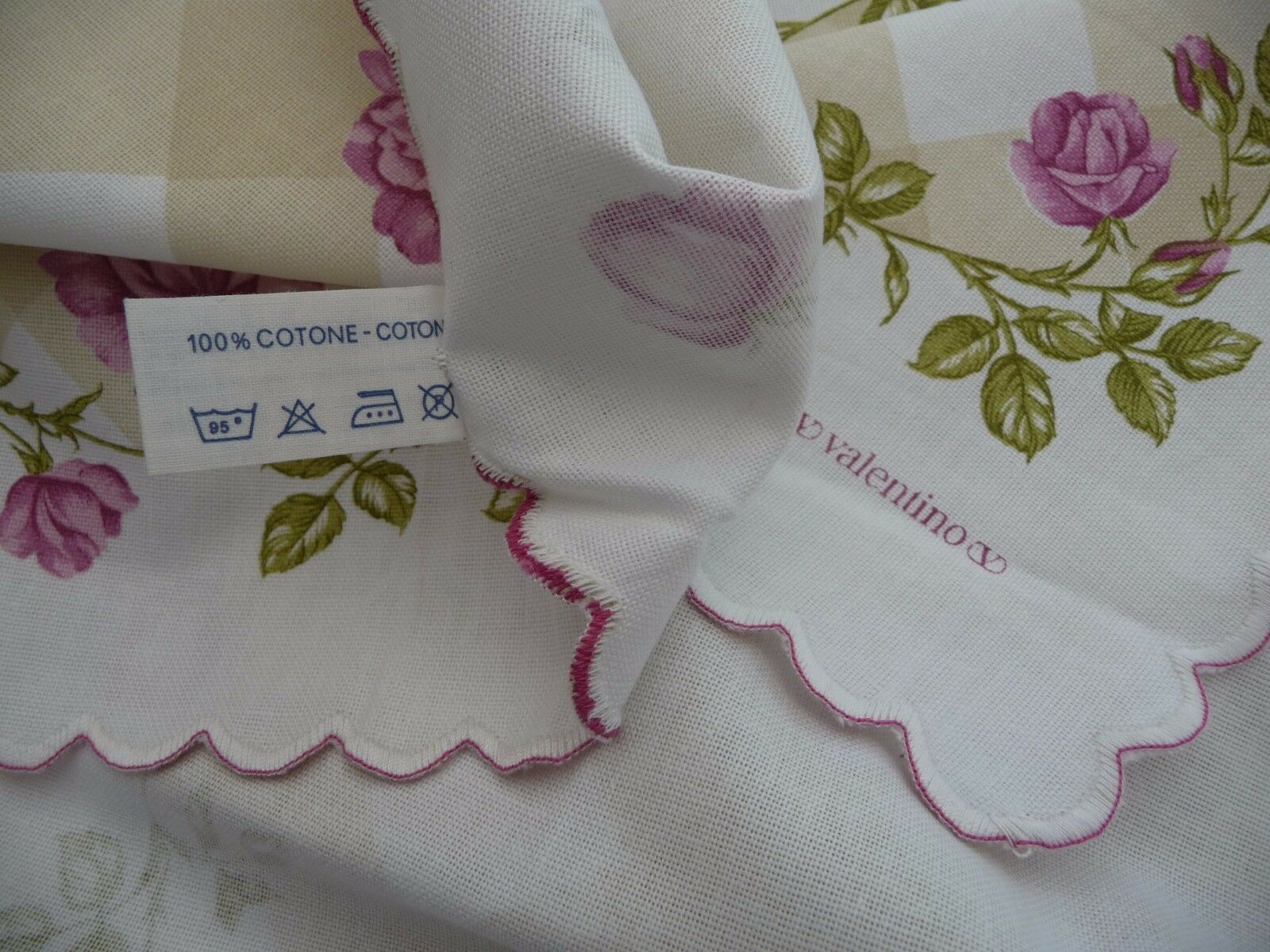 Valentino nappe 8 serviettes NOUVEAU Cantoni roses treillis MADE IN ITALY Signé