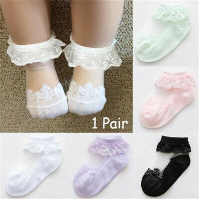 Baby Toddlers Kids Girls Solid Combed Cotton Lace Breathable Ankle Socks