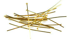 100 Gold Plated Head Pins 21 Gauge 4 Inch