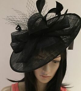 NIGEL RAYMENT BLACK DISC FASCINATOR WEDDING ASCOT HAT FORMAL MOTHER ... adcef8e4d34