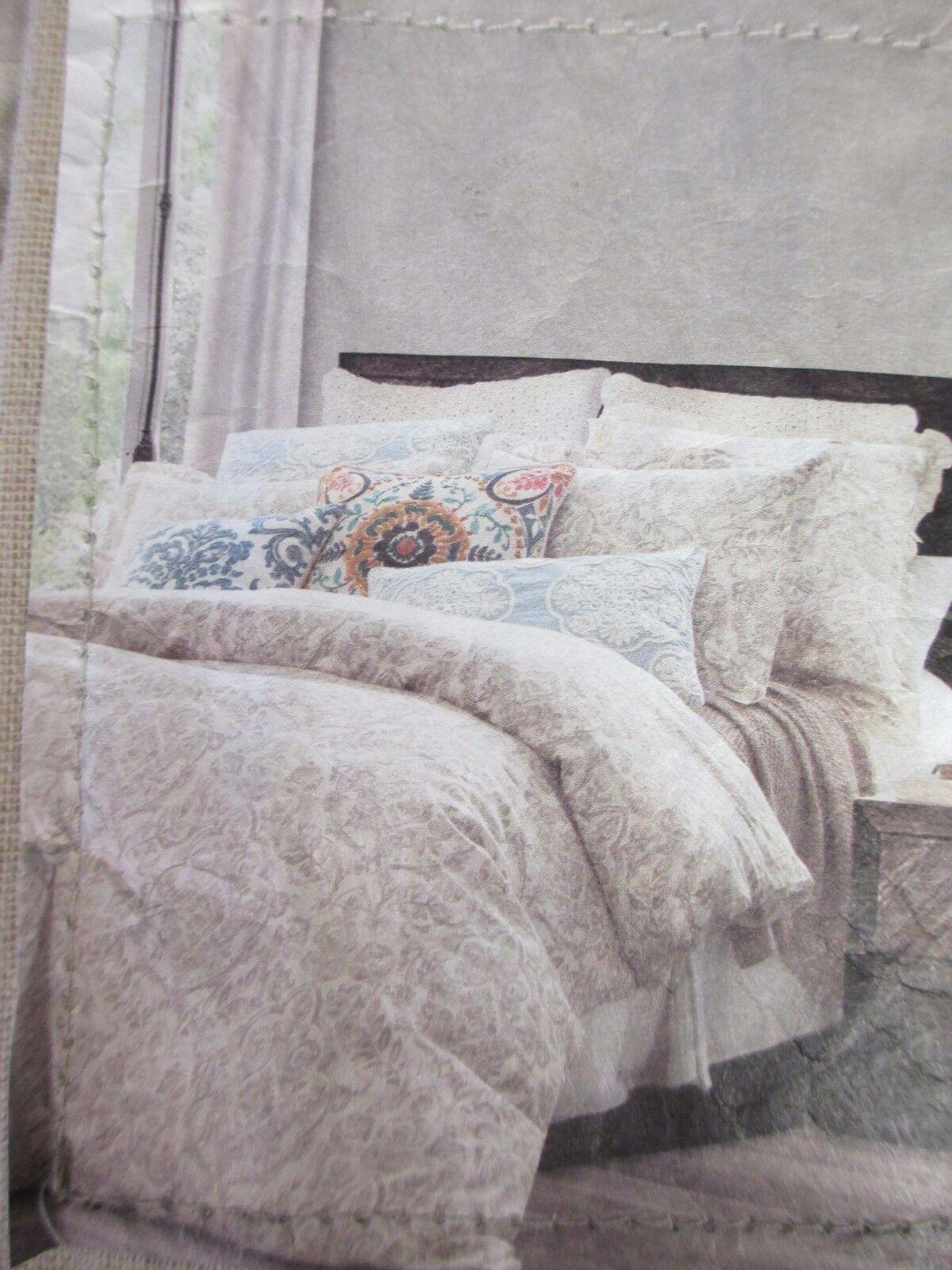 ENVOGUE Washed Linen Vintage Cream Charcoal Leaf Floral Duvet Set - Full Queen