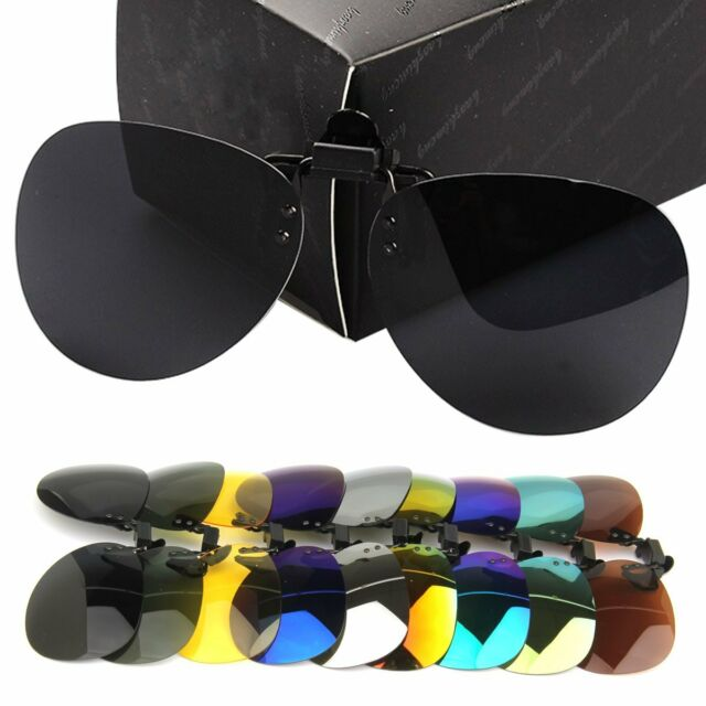 UV400 Polarized Day Night Vision Flip-up Clip-on Lens Driving Glasses Sunglasses
