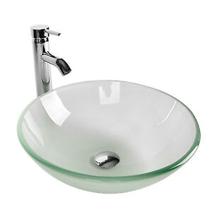 Image Is Loading Bathroom Frosted Clear Gl Vessel Sink Bowl Chrome