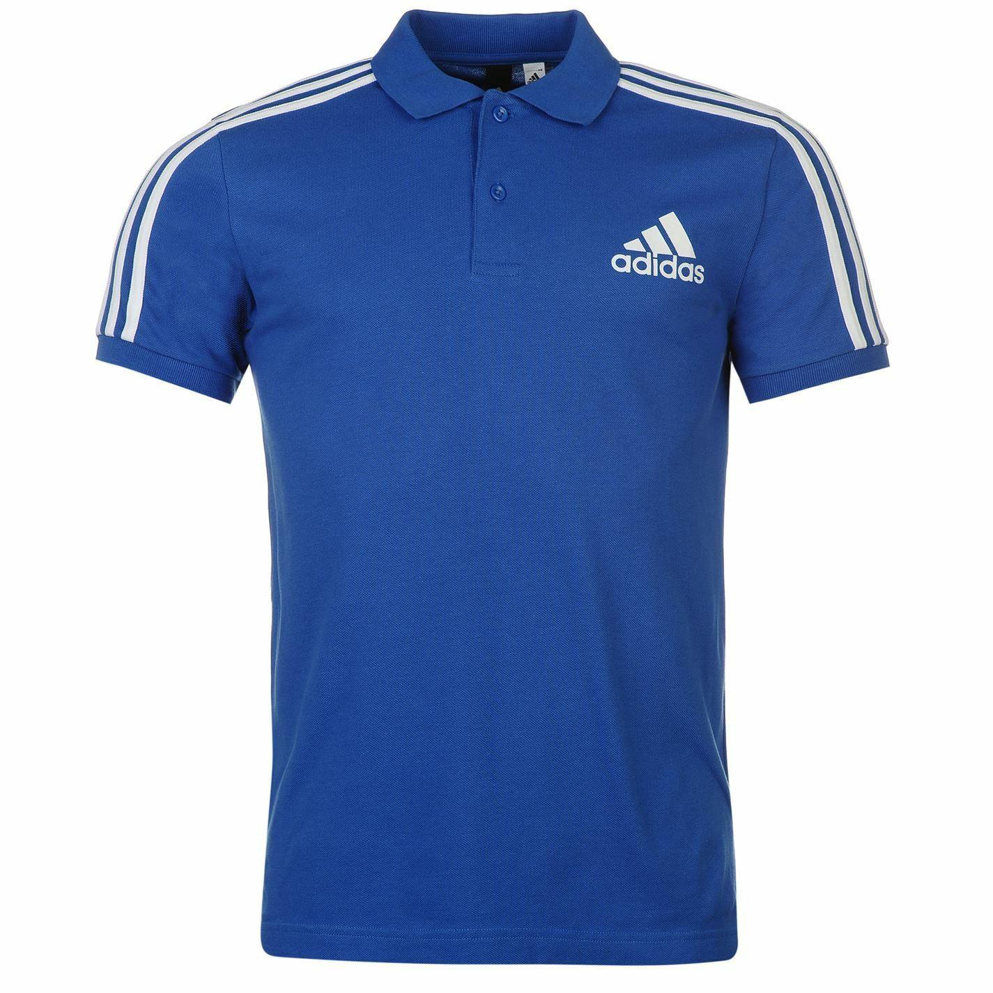 Adidas 3 Strisce Polo con Logo da Uomo Blu Bianco con Colletto T-Shirt Top